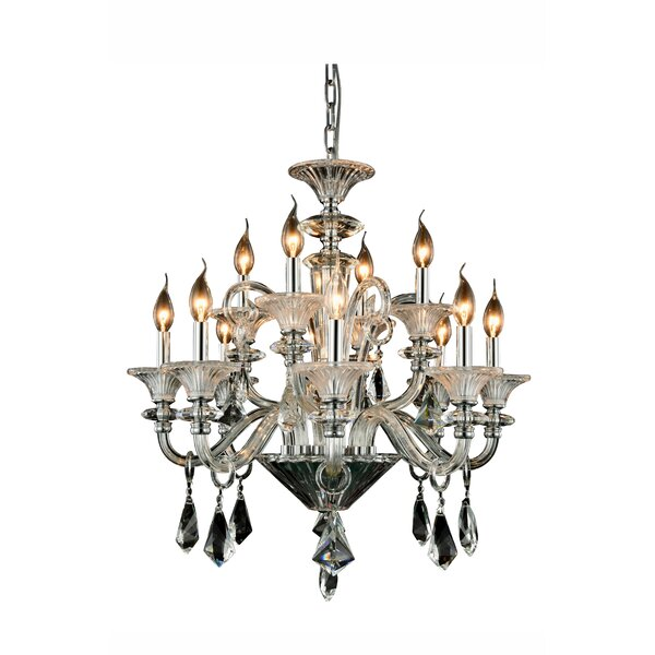 Ola 12 - Light Candle Style Tiered Chandelier By Rosdorf Park