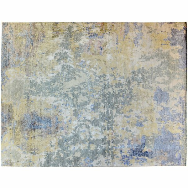 One-of-a-Kind Hand-Knotted Blue/Beige 9' x 12' Wool Area Rug