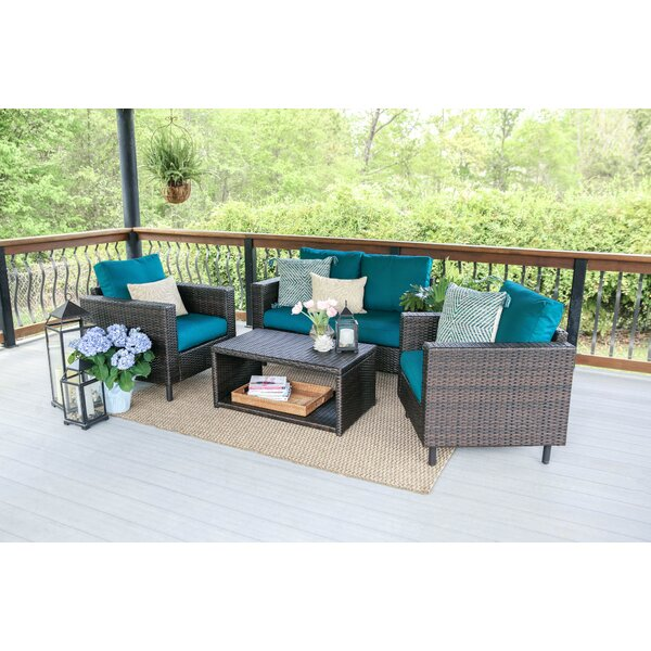 Suwanee 4 Piece Rattan Sofa Seating Group with Cushions by Ivy Bronx