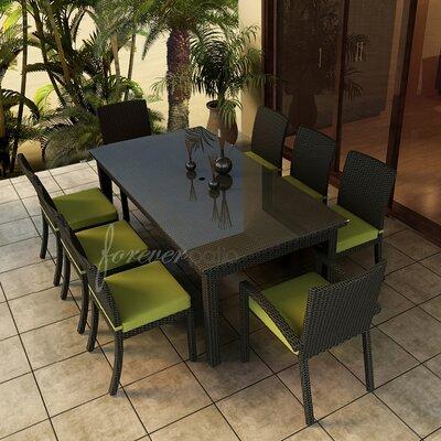Barbados 9 Piece Dining Set with Sunbrella Cushions Forever Patio Fabric: Spectrum Kiwi / Self Welt