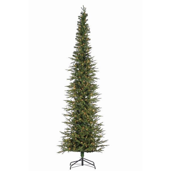 Natural Cut Narrow Lincoln Green Pine Artificial Christmas Tree with Clear White Lights with Stand by The Holiday Aisle