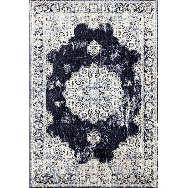 Lilienthal Distressed Navy Area Rug by Bloomsbury Market