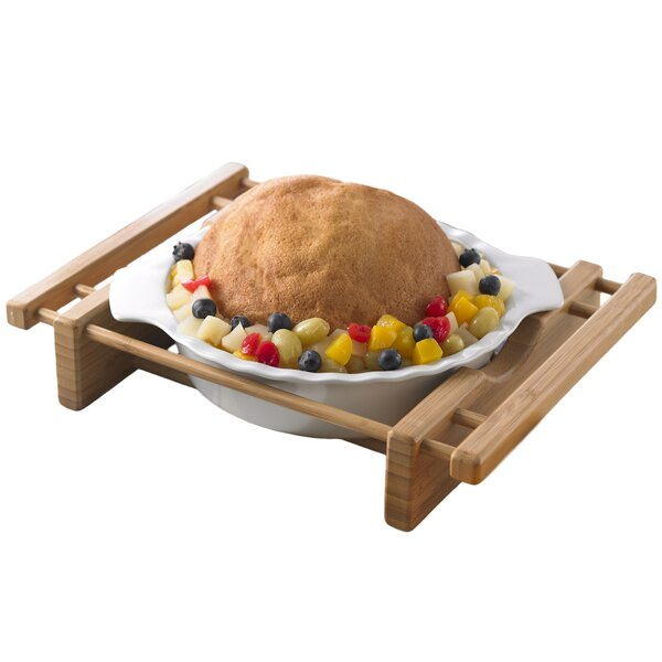 Bamboo and Stoneware Grand Buffet Pie Pan Bakeware Dish with Bamboo Cradle by Creative Home