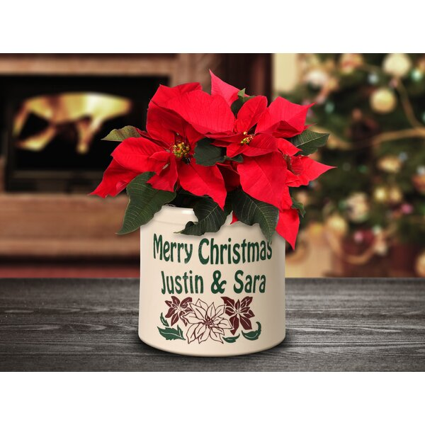 West Hill Personalized Poinsettia Ceramic Pot Planter by The Holiday Aisle