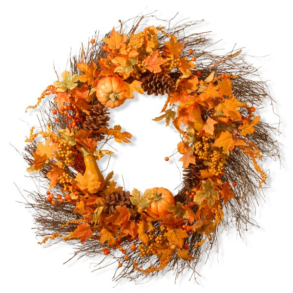 Maple Leaf and Pumpkins Wreath by National Tree Co.