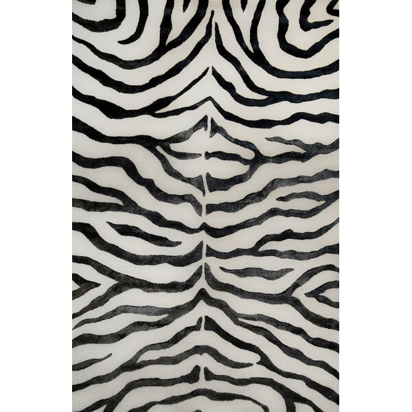 Plush Zebra Hand-Tufted Wool Black Area Rug by nuLOOM