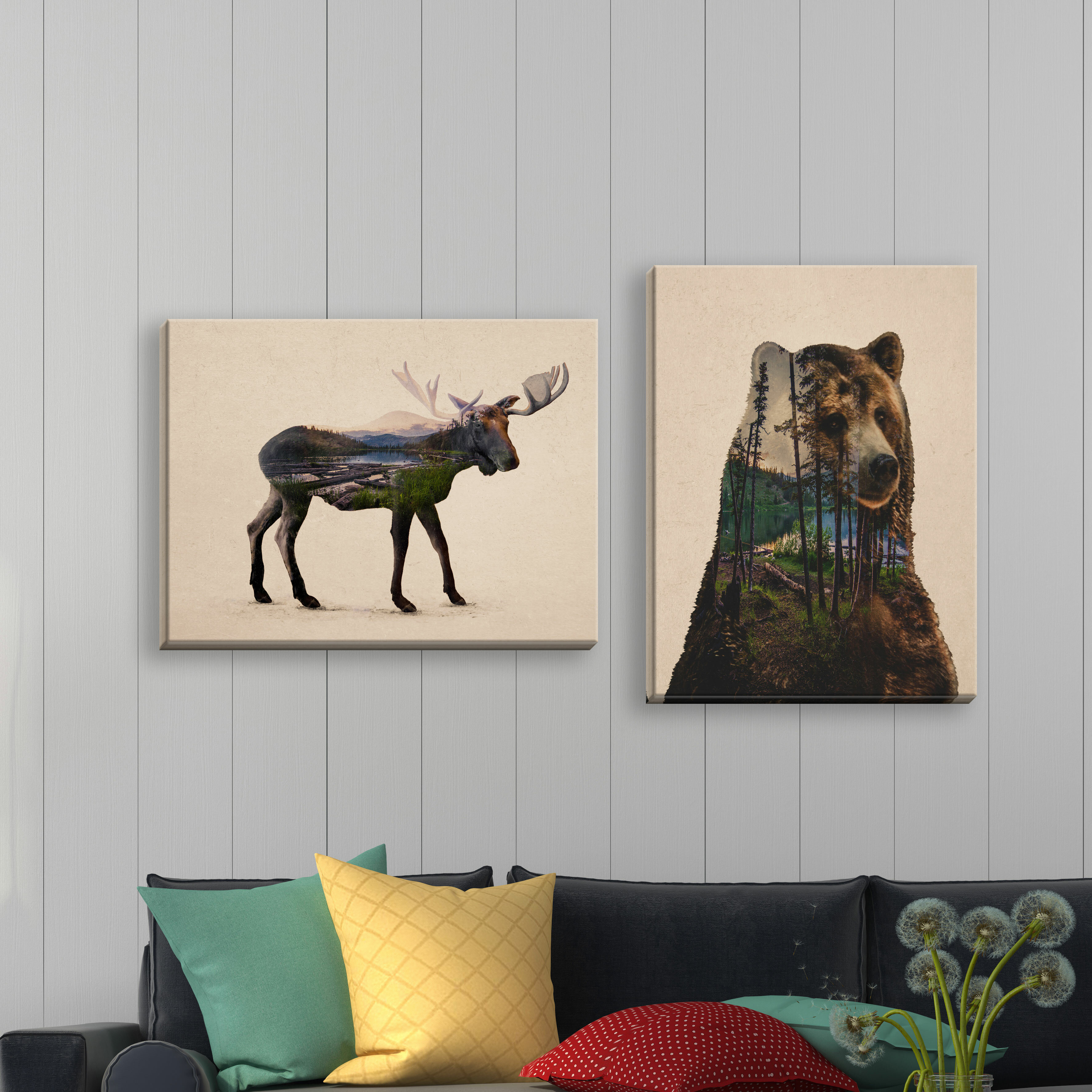 Rustic Double Exposure Bull Moose And Bear Landscape Set Cabin Lodge Decor By Davies Babies Graphic Art Paint