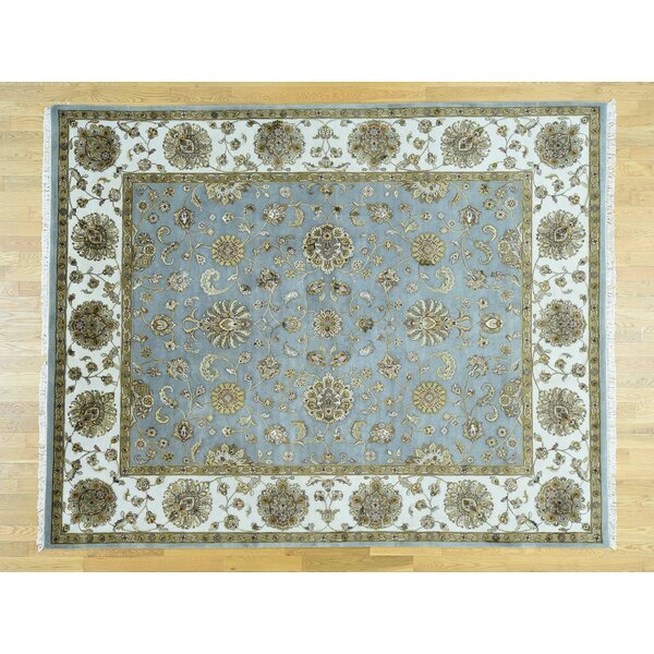 One-of-a-Kind Bear Flower Handwoven Blue Wool Area Rug by Isabelline