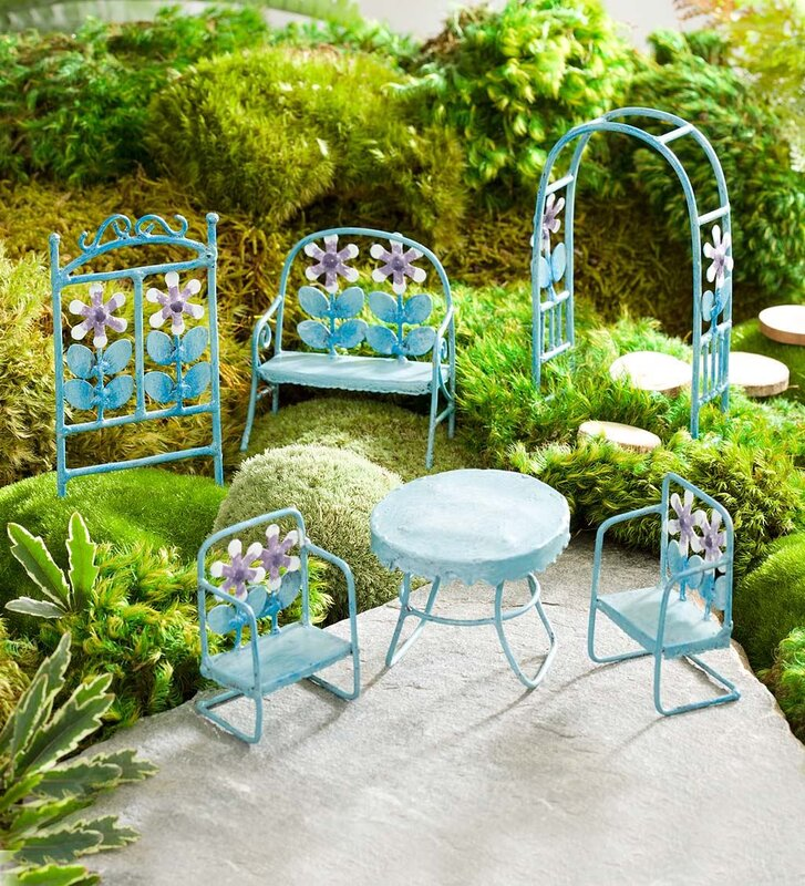 Miniature Retro Metal Furniture 6 Piece Fairy Garden Set