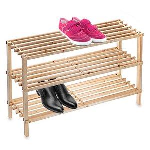 3tier wooden 9 pair shoe rack