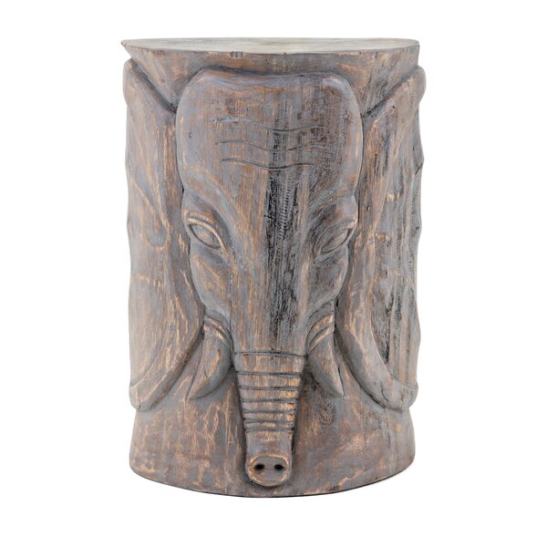 Cheetham Wooden Elephant Garden Stool by World Menagerie