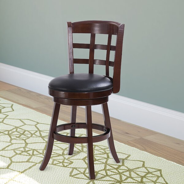 Azalee Dark Cappuccino Stained Counter Height Swivel Bar Stool by Darby Home Co