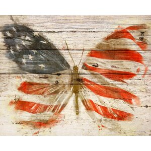 American Butterfly Graphic Art Plaque by August Grove