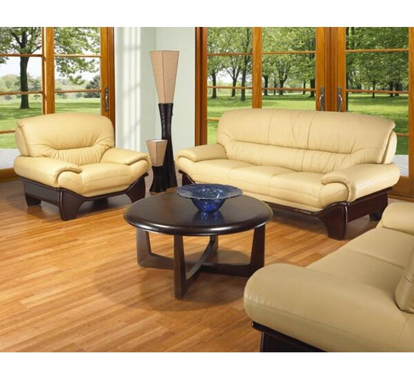 Clauderson Leather 3 Piece Living Room Set by Red Barrel Studio