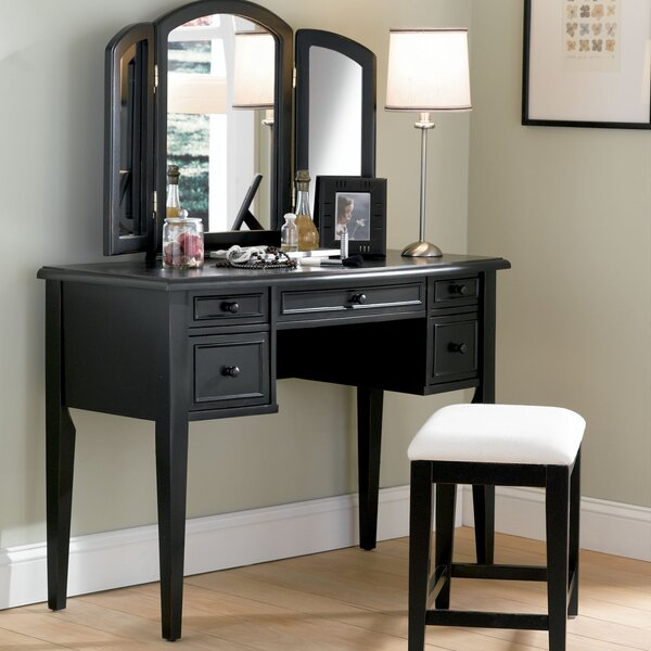 Burhardt Vanity Set with Stool and  Mirror by Darby Home Co