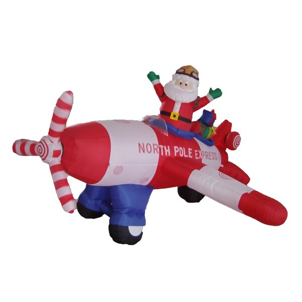Christmas Inflatable Animated Santa Claus Driving Airplane Decoration by The Holiday Aisle