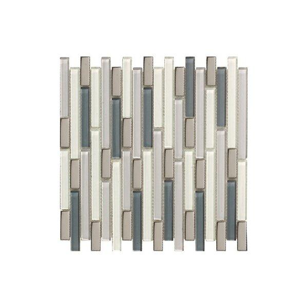 Santa 12 x 12 Glass Mosaic Tile Cream/Gray by Kellani