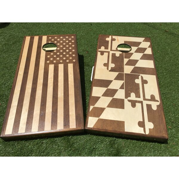 Stained American and Maryland Flags 10 Piece Cornhole Set by West Georgia Cornhole