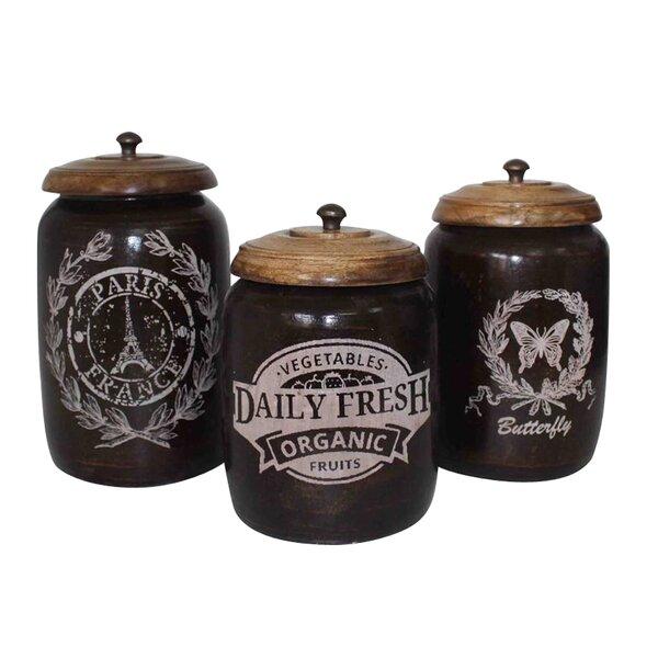 Vicknair 3 Piece Storage Jar Set by Ophelia & Co.