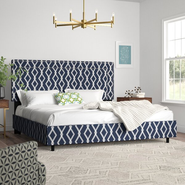 Edford Nail Button Border Crossweave Upholstered Standard Bed by Wrought Studio