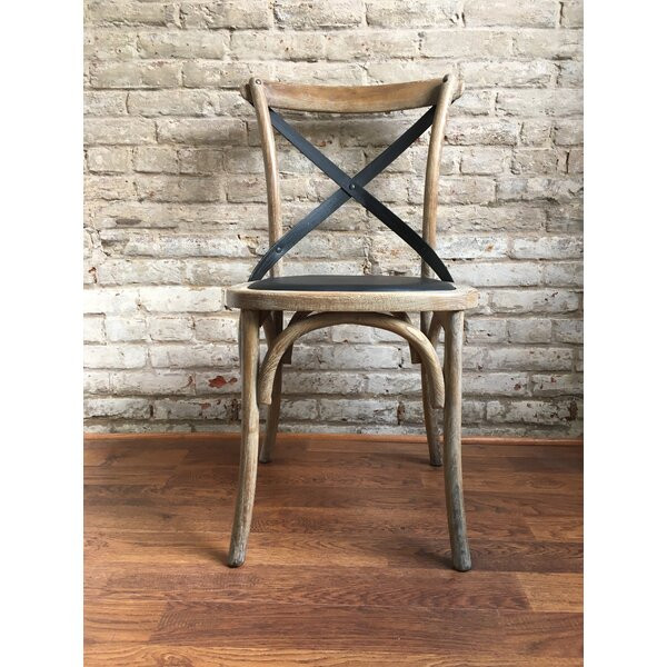 Lyndsay Antique Cross Back Upholstered Dining Chair by Union Rustic