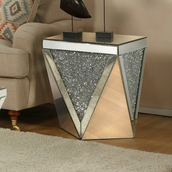 Blaker Drum Mirrored End Table by Rosdorf Park