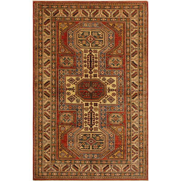 One-of-a-Kind Zoey Super Kazak Hand-Knotted Wool Red/Tan Area Rug by Astoria Grand