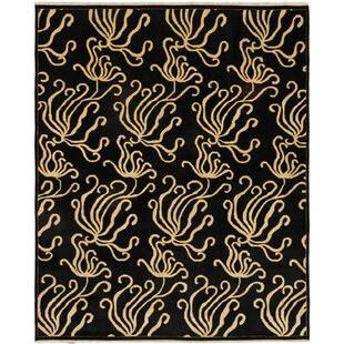 Best Price Janyce Hand-Knotted Wool Black Area Rug By Isabelline