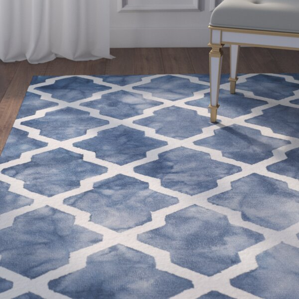 Hand-Tufted Wool Navy/Ivory Area Rug by House of Hampton
