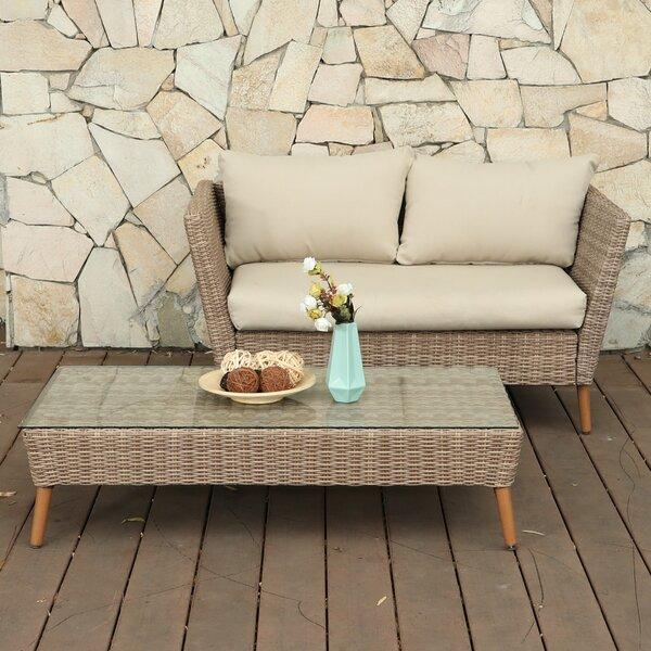 2 Piece Rattan Sofa Seating Group with Cushions by PHI VILLA