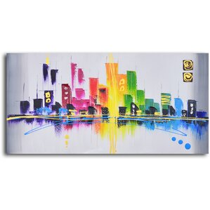 Rainbow City Scape Painting on Wrapped Canvas