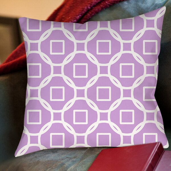 Modern Geometric Lavender Printed Throw Pillow by Manual Woodworkers & Weavers