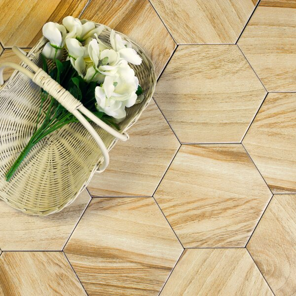Artisan Wood Hexagon 8 x 8 Ceramic Wood Look Tile in Tan by Abolos