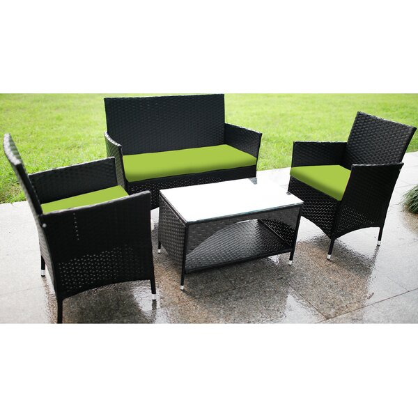 Baumstown 4 Piece Rattan Sofa Seating Group with Cushions by Latitude Run