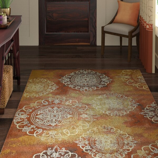 Victoria Yellow/Brown Indoor/Outdoor Area Rug by World Menagerie