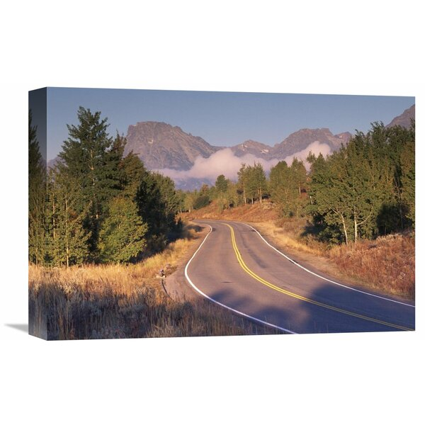 Nature Photographs Highway and Mt Moran, Grand Teton National Park, Wyoming Photographic Print on Wrapped Canvas by Global Gallery
