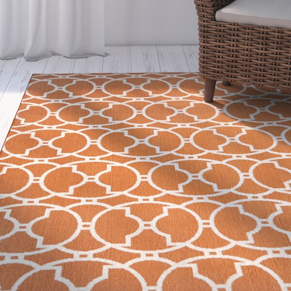 Halliday Orange Geometric Indoor/Outdoor Area Rug by Beachcrest Home