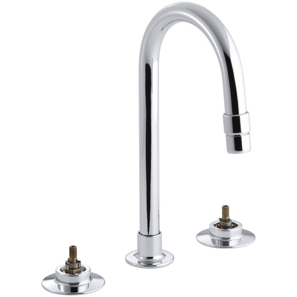 Triton Widespread Commercial Bathroom Sink with Gooseneck Spout and Rigid Connections, Requires Handles, Drain Not Included by Kohler