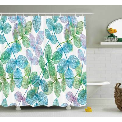 Keaton Flowers Leaves Ivy Ombre Shower Curtain