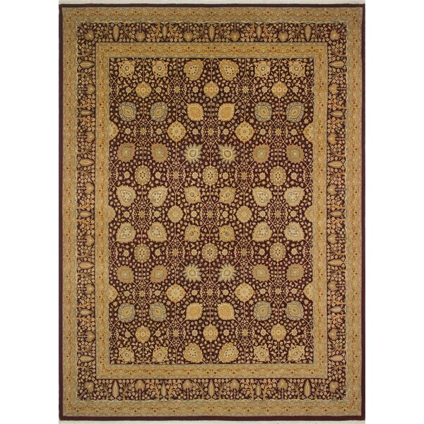 Roberta Turkish Hand Knotted Wool Dark Red Area Rug by Astoria Grand