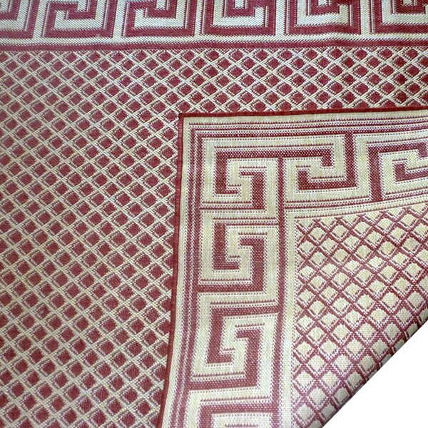 Greek Key Burgundy/Cream Geometric Indoor/Outdoor Area Rug by Geo Crafts, Inc