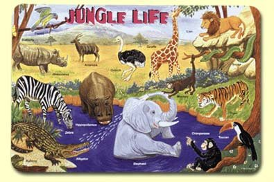 Jungle Life Placemat (Set of 4) by Painless Learning Placemats