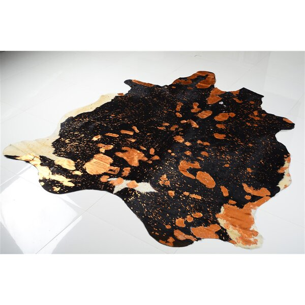 Syre Metallic Cowhide Hand Woven Orange/Black Area Rug by Brayden Studio