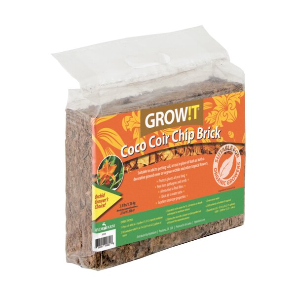 Grow!T Coco Coir Chip Brick by Hydrofarm