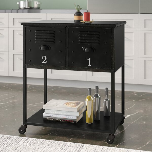 Alastor Rolling Cart Table with 2 Drawers by Trent Austin Design