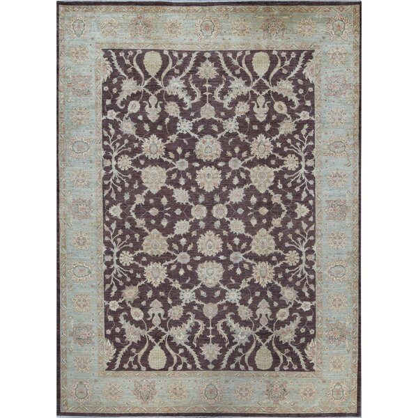 Ziegler Oriental Hand-Knotted Wool Brown/Light Blue Area Rug