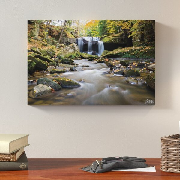 Centerville Mill Falls Autumn Horizontal Photographic Print on Wrapped Canvas by Loon Peak