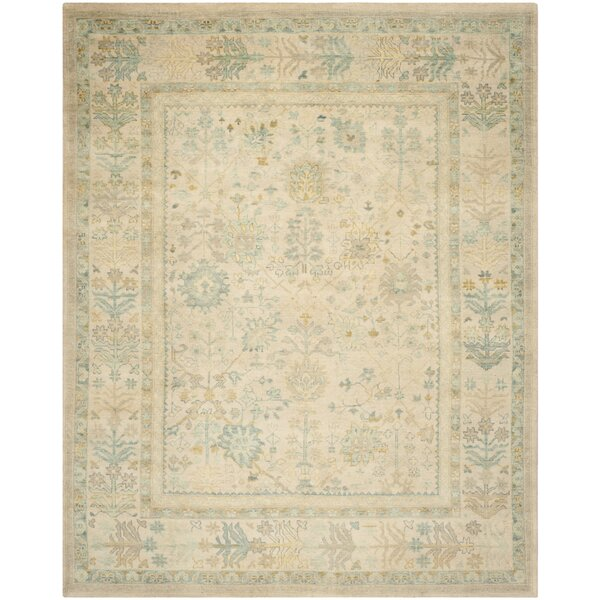 Archambault Sultanabad Hand Knotted Wool/Cotton Ivory/Blue Area Rug by Bloomsbury Market