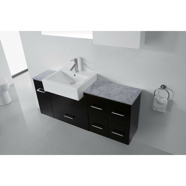 Canadice 60 Single Bathroom Vanity Set with White Marble Top and Mirror by Zipcode Design