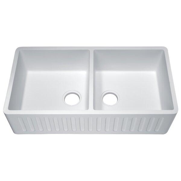 Roine 9 L x 18 W Double Basin Farmhouse Kitchen Sink by ANZZI